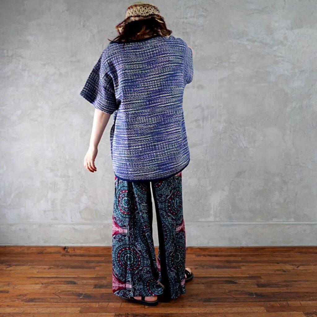 コットン編みシャツ