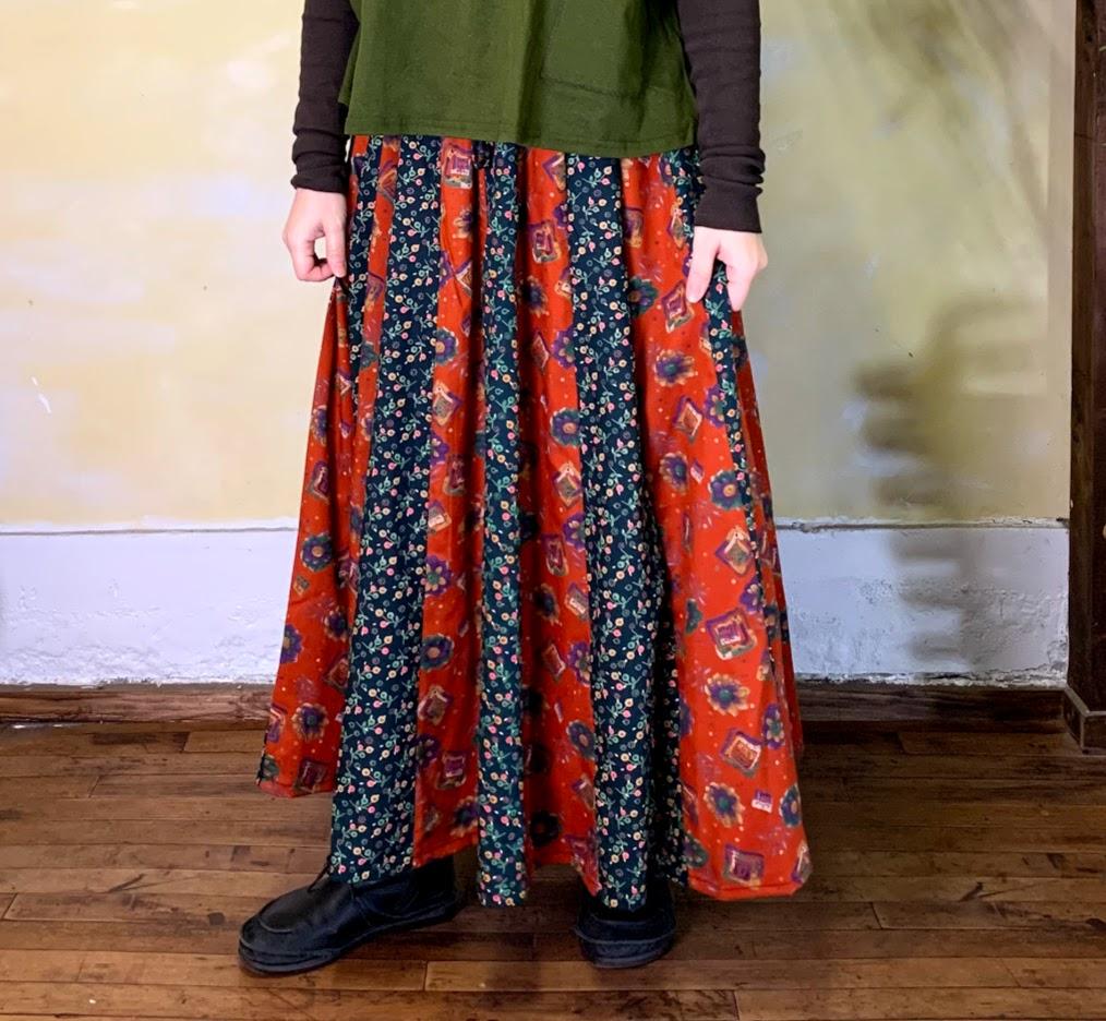 花柄スカート オレンジ