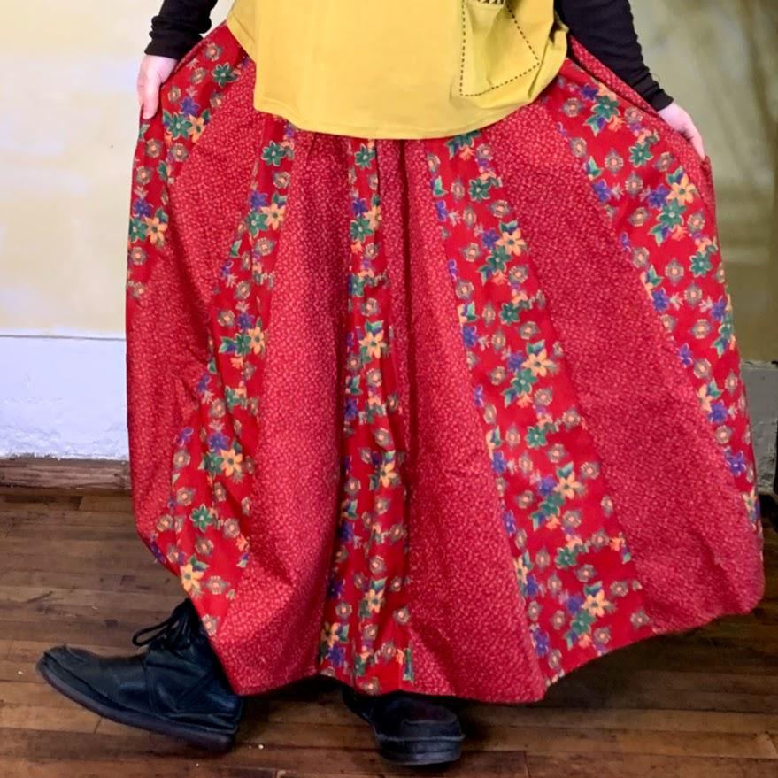 花柄スカート レッド