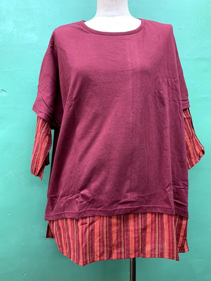 シャツ風7分丈Tシャツ